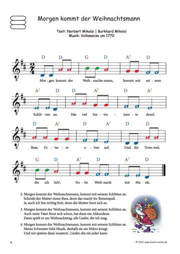 Bekannte Weihnachtslieder.Bekannte Weihnachtslieder Mit Farbigen Noten Für Gitarre
