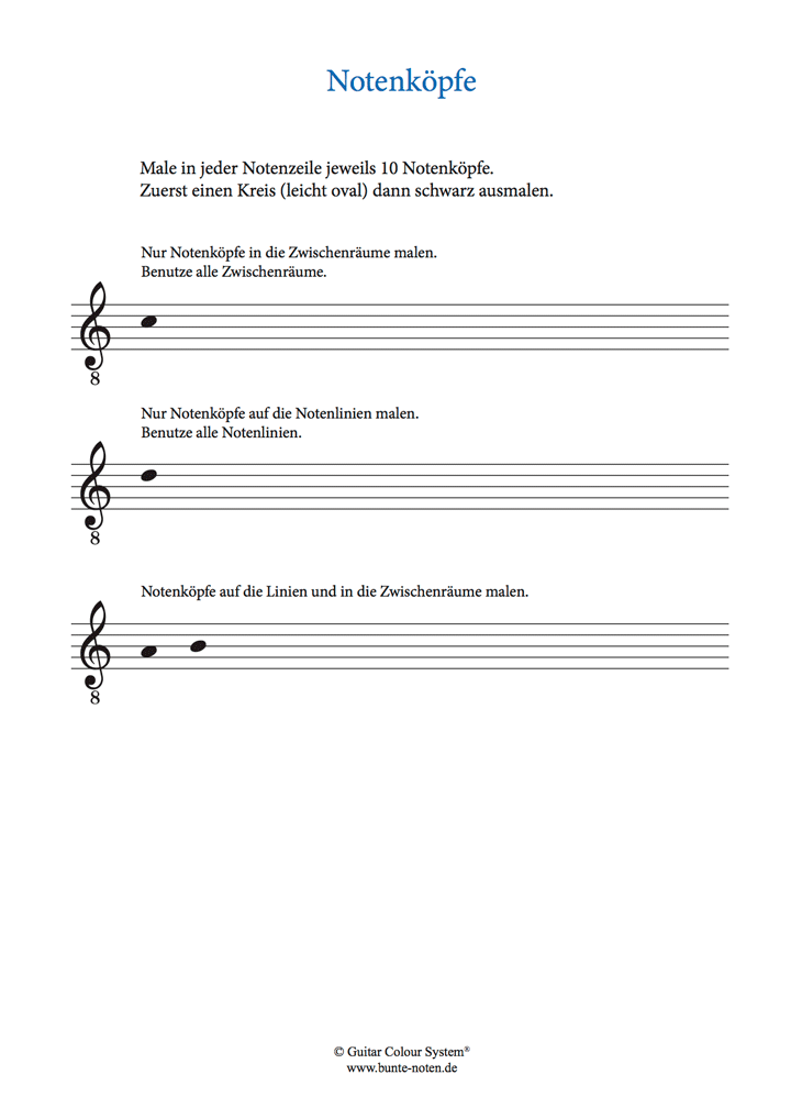 Notensystem | Notenschrift · Schreibregeln · Notenkopf · Notenhals