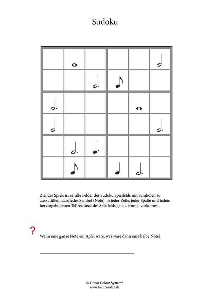 Sudoku Noten- und Pausenwerte | Musiksymbole